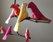 Cheerful 7 Bird Mobile in Pink, Orange and Yellow - A Kinetic Beauty
