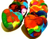 Kid's VALENTINE'S Day HEART Crayons - Mini Heart Recycled Crayons - Set of 6 Recycled Rainbow Crayons
