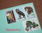 OWLS and Trees .. Unused Vintage Postage Stamps .. Enough to Mail 10 letters