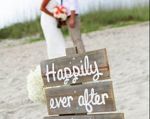 Happily Ever After Starts Here Rustic Wedding Sign Barn Yard Wedding Decorations LARGE FONT Recycled wood Directional Arrow Reception Sign