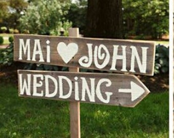 Rustic Wedding Signs Vintage Outdoor Weddings LARGE Road Sign Hand Painted Reclaimed Wood. Rustic Weddings. Vintage Weddings. Road Signs.