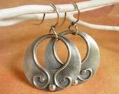 Argentium Sterling Silver Earrings - Gypsy Hoops  - Silver Jewelry - Artisan Jewelry - Gypsy Earrings - Contemporary Metalsmith Earrings