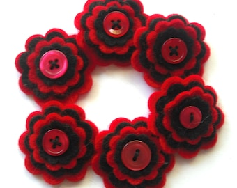 Felt Flowers Set of 6 with Red and Black Felt and Red Buttons, for Scrapbooking, Card Making or Hair Accessories