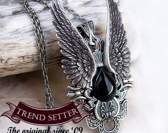 Gothic angels jewelry Gothic Jewelry Silver gothic pendant Vampire Jewelry winged angel black Necklace Mens Onyx pendant Fantasy Necklace