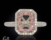 Pink Sapphire Engagement Ring, Pink Sapphire & Diamond Semi-Mount for a Rectangular Asscher, Cushion, Radiant, or Princess Cut Stone - LS372