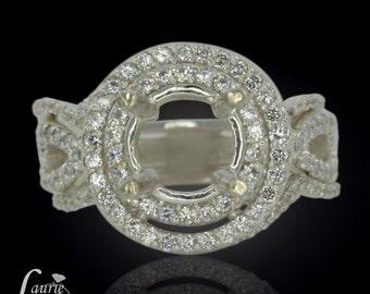 Diamond Double Halo Semi Mount Wedding Set with 2 Contoured Diamond Wedding Bands - LS1379