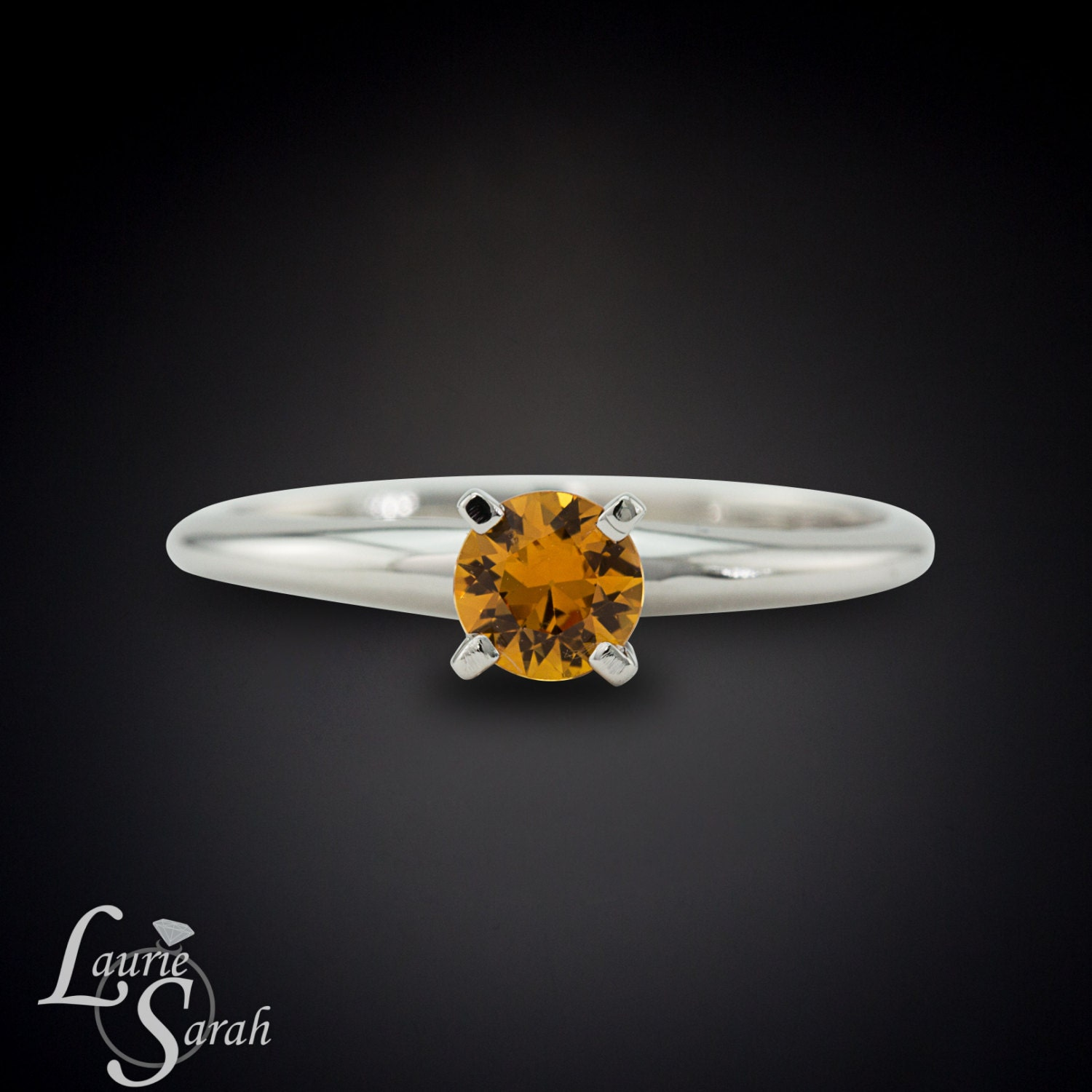 dainty sapphire engagement ring orange by lauriesarahdesigns