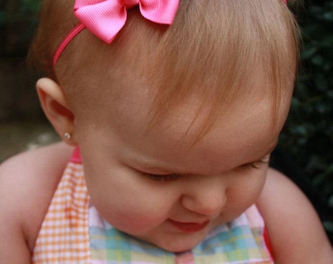 hot Pink  Newborn Headband - 2 in. Bitty Bow on an Elastic Headband - Girls Hair Bows - Baby Headband