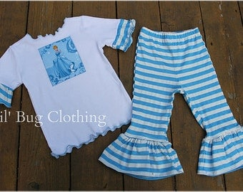 Custom Boutique Girl  Disney Cinderella Tee And Baby Blue White Stripe Ruffled Pant Outfit