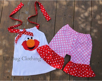 Elmo GIrl Outfit, Sesame Street Girl Elmo Outfit, Sesame Street Birthday Party Outfit, Elmo Birthday Party Outfit
