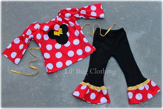 Jumbo Dot Red Yellow Minnie Mouse Peasant Top and Pant Custom Boutique Girl