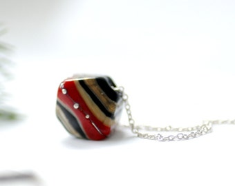 Simple Necklace, Slider Necklace, MInimalist Jewelry, Elegant Necklace, Red Black Necklace, Whimsical Jewelry, Sterling Silver - BLOOMERS
