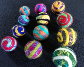 12 VARIETY SIZES Carnival Style Felt House Party Balls - Merino wool with shiney silk infusion