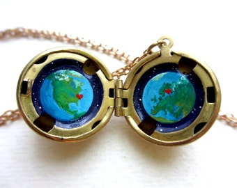 Personalized Locket Gift for Long Distance Relationship, Oil Painting Planet Earth