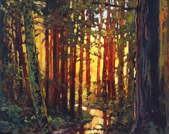 Streaming Through- Mission Arts and Crafts CRAFTSMAN Creek Sunset - Giclee Fine Art PRINT of Original Painting matted 12x12 by Jan Schmuckal