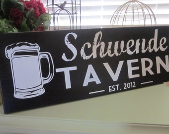 Custom Bar Sign, Wood Sign, Groomsmen gift, Beer Lover, Tavern Sign, Man Cave, Family Name Sign, Personalized