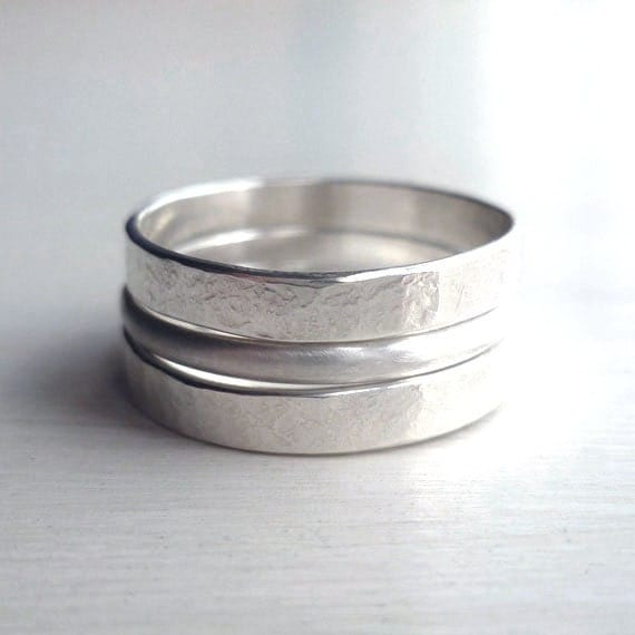 stacked rings sterling silver hammered brushed mens