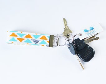 Fabric Key Chain Fob Technicolor Triplet in Orange