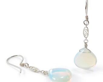 Opalite Dangle Earrings. Opalite Teardrop, Sterling Silver, Filigree Link, Wire Wrapped, Dangle Earrings. Bridal Wedding. October Birthstone