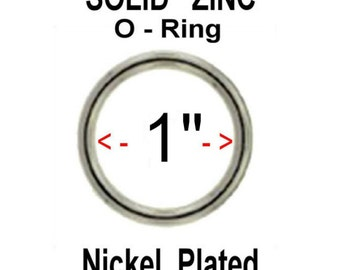"""100 PIECES - 1"""" SOLID Zinc Metal O Rings - Nickel Plate Finish"""