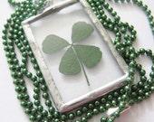 four leaf clover necklace - silver clover - real four leaf clover - st patricks day -  pressed flower - statement necklace