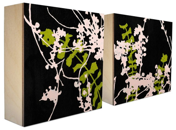 set of 2 limited edition botanical prints on panel by madebykim. Black Bedroom Furniture Sets. Home Design Ideas