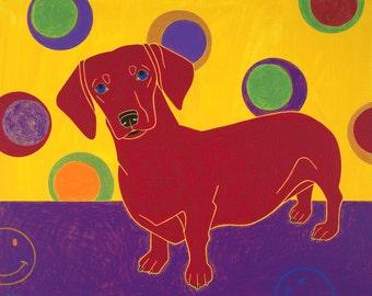 Dachshund Art - Dachshund Modern Art - Dachshund Pop Art - Bubble Design - contemporary dachshund art - by angelabondart