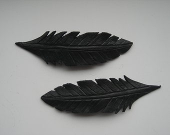 Leather feather hair clip