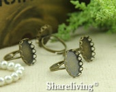 10pcs Antique Bronze Brass Adjustable Rings With 18x13mm Lace Cameo Setting RI443