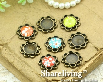 10pcs Antique Bronze 12mm Round Cameo Base Setting Charm / Connector AS263
