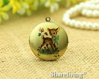 1pcs Bambi Locket Necklace Antique Bronze Brass Photo Locket Bambi Charm Pendant 32mm 25mm 20mm Locket - NLK002B