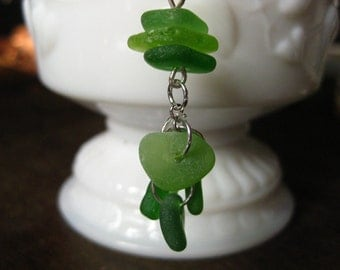 Genuine SeaGlass necklace tiny drops of kelly green
