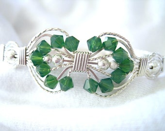 Palace Green Swarovski Bicone Beads and Sterling Silver Wire Wrapped Bracelet