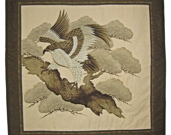 Japanese Eagle Hawk Large Wall Hanging Quilted Furoshiki
