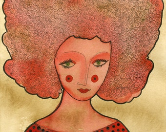 Green Eyed Lady, Red art print, archival print, green eyes