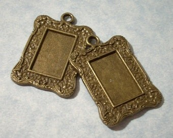 2 Picture Frame Pendants Rectangular Photo Frame Antique Bronze