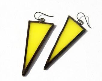 EARRINGS -  Yellow Triangle Earrings - Stained Glass Earrings