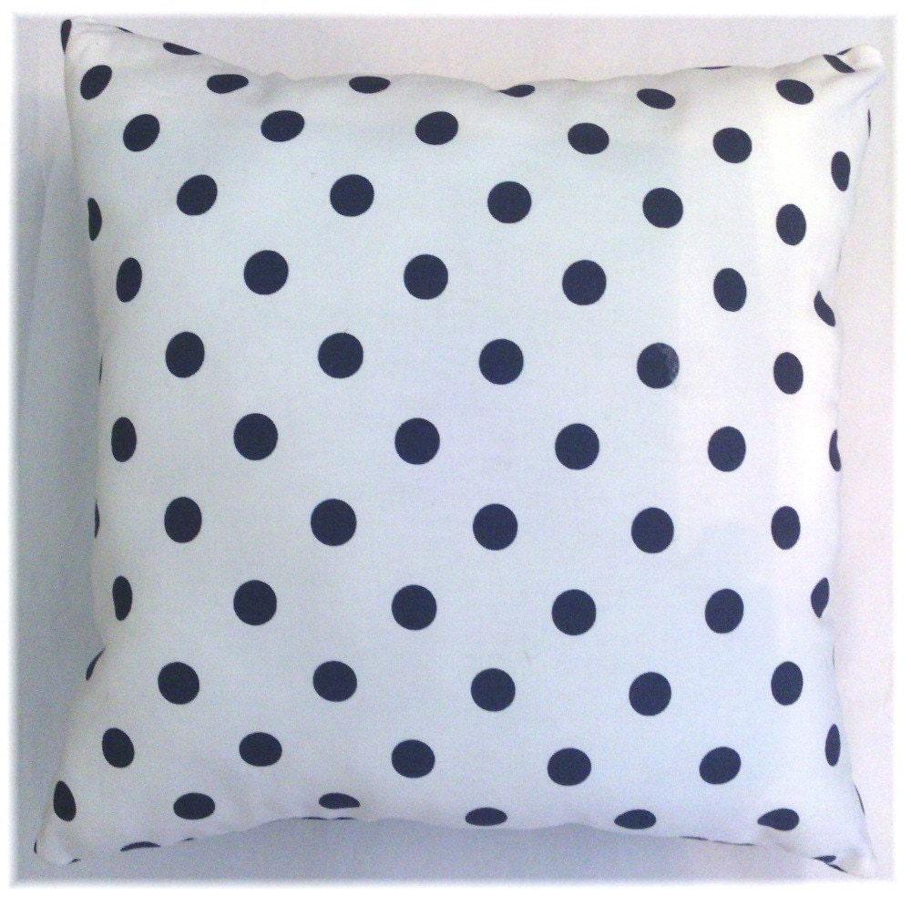 Navy Polka Dot Print Decorative Stuffed Pillow 16 X