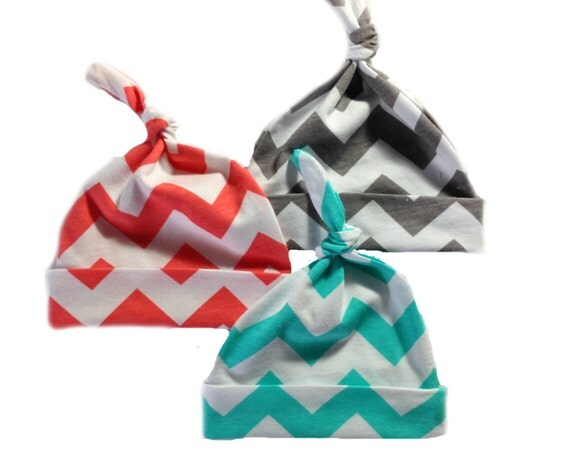 Set of 3 top knot hats for girls Coral, Aqua, Grey
