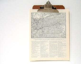 Kansas City, Missouri Map - 1936 Vintage Book Page from World Atlas 11 x 14