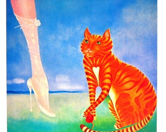 Cat Print - Green Eyes, The Gift - 1985 Vintage Book Page - 9 x 12