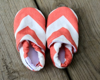 CHEVRON Baby Shoes Booties zigzag boy girl toddler infant newborn slippers Coral Pink grey gray red green navy blue Duck cloth canvas SWAG