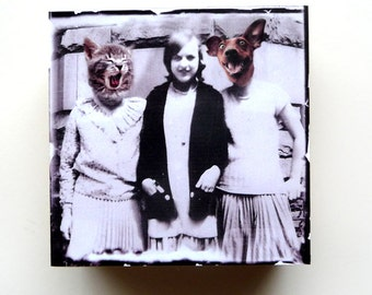 Altered Art Collage Surreal Home Decor Girlfriends Cats Dogs