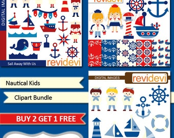 Nautical clipart bundle sale / sail away clip art / sailor, sailing, boat, light house, anchor, red, blue / kids clipart