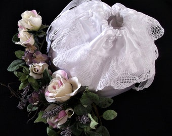 First Communion  Drawsting Purse , Flower Girl Wedding Pouch ,  Made to Order , Girls Gift , White Victorian Evening Bag