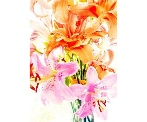 Lily Photograph, Lily Print, Orange Hot Pink Still Life, Flower Wall Art, Neon Decor,  Floral Art Print