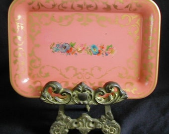 Cottage Chic Pink with Roses and Flowers Miniature Dresser or Display Tole Toleware Tray