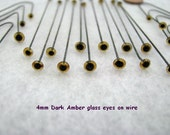 20 Pair 4mm Dark Amber 5mm Solid Black Glass Eyes on WIRE needle felting, sewing, carving, On SALE with Free US Shipping While Supply Lasts