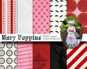 Disney Mary Poppins Inspired 8.5x11 Digital Paper Backgrounds for Digital Scrapbooking, Party Supplies, etc -INSTANT DOWNLOAD -