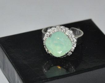 Square Ring, Mint Opal Ring, Swarovski Crystal, Silver Ring, Adjustable Ring, Rhinestone, Cocktail Ring
